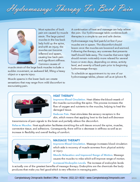 Hydromassage Therapy for Back Pain